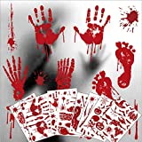 8 Sheet Halloween Decorations Window Decals Wall Stickers, 95 Pcs Bloody Footprint Floor Clings, Horror Handprint Home Decals Vampire Zombie Party Decorations Supplies