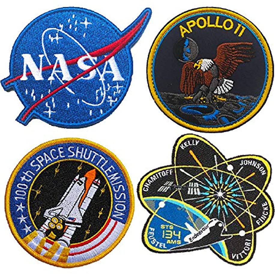 OYSTERBOY 4pcs NASA Meatball 100th Space Shuttle Mission Iron-on Patch