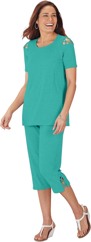 ANTHONY RICHARDS Women's Lattice Trim Capri Set - Casual Two-Piece Tunic & Pants Outfit