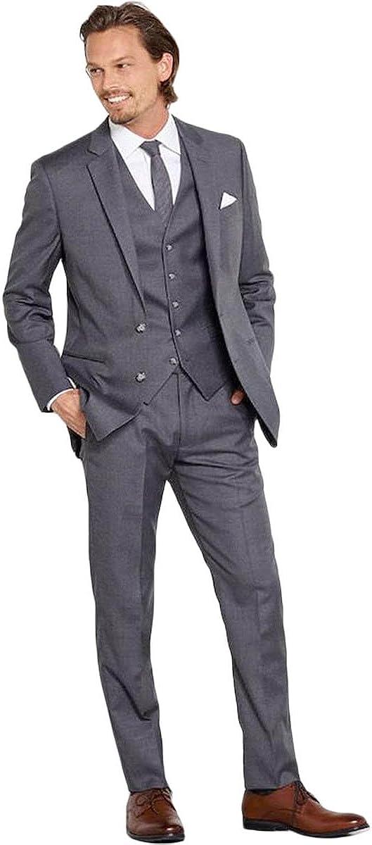 Newdeve Men's Wedding Suits Tuxedo 5 Pieces Dark Gray