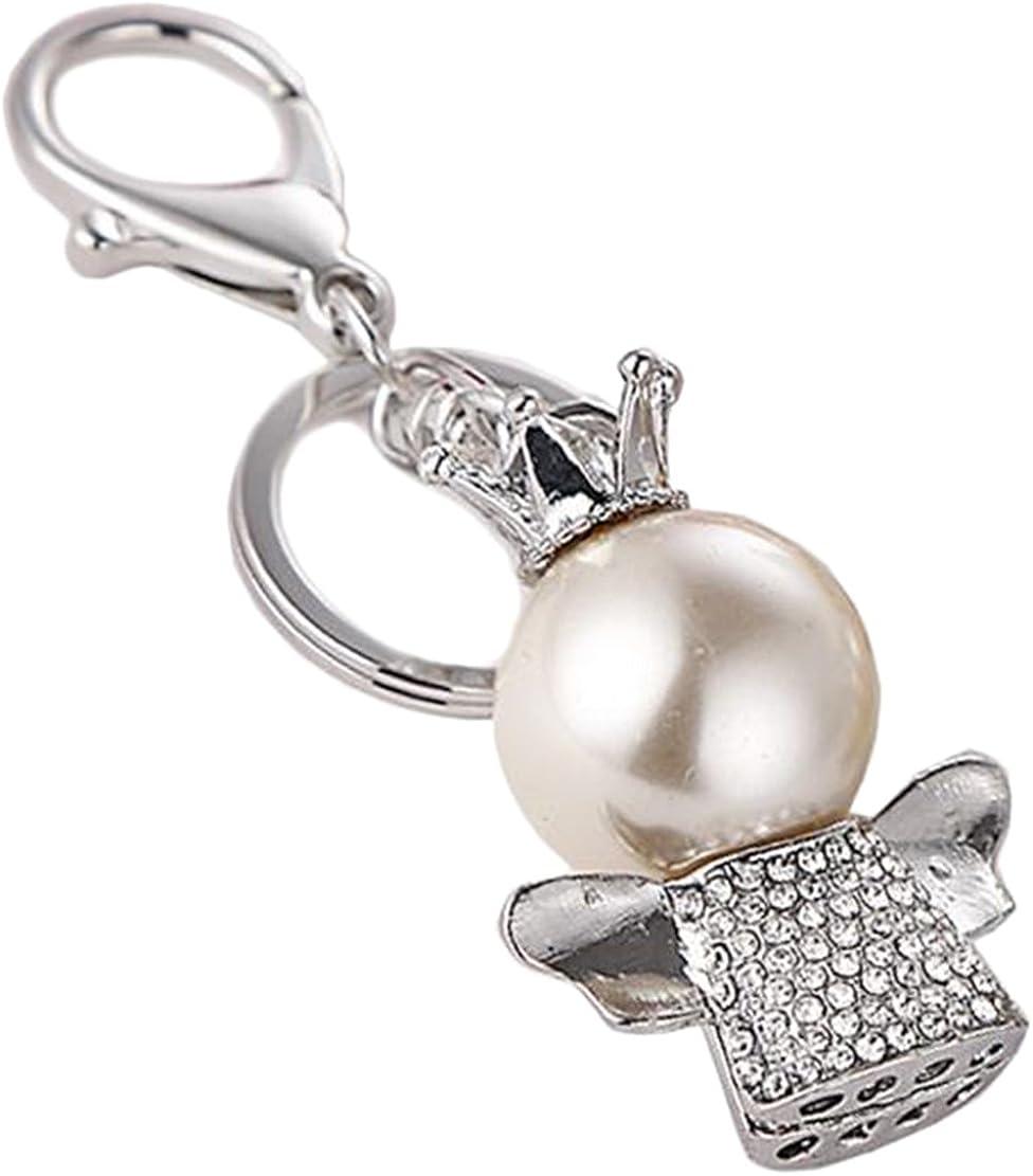 Freedi Crystal Key Chain Sparking Keyring Clover Creative Angel Pearl Rhinestone Purse Bag Charm Pendant Gift for Girl Woman