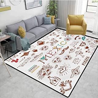 Mexican Outdoor Rugs Mexican Latino Doodles Hipster Mustache Restaurant Cat Heart Viva Fiesta Furniture Sliders for Carpet Brown Multicolor Area 5'x8'