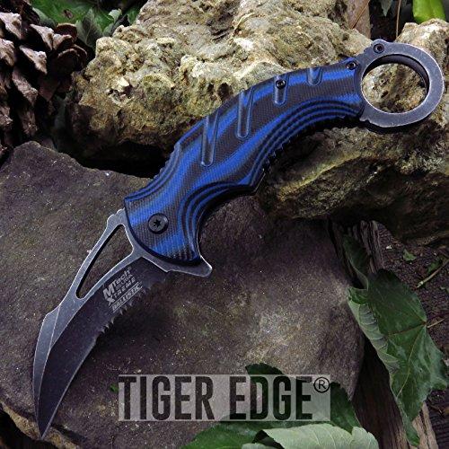 New Folding Pocket ProTactical Limited Edition Elite Spring Assisted Knife | Mtech Black Blue Karambit Tactical Serrated