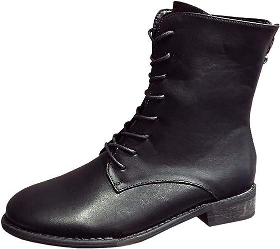 LBTSQ Fashion Chaussures Femme Cravate Zipper Talon 3 Cm De Haut Martin Bottes Slim Tête Ronde Peu De Talon des Bottes Noires Locomotive De Bottes