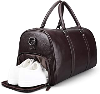Travel Duffle Holdall For Business,Duffel Bag with Shoes Compartment (Color : Brown)