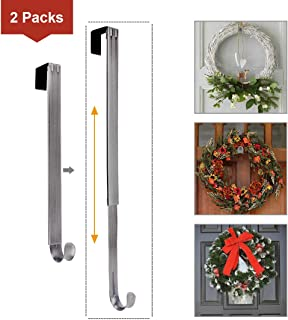 LBSUN Wreath Hanger, Adjustable Over The Door Wreath Hanger & Wreath Holder & Wreath Hook for Door (2-Pack Nickel)