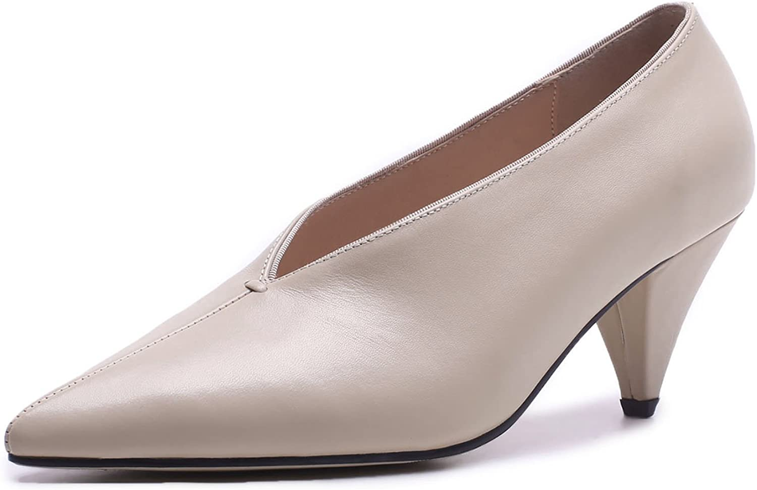 CHENSIR9 Women Closed Toe Ankle Block Heel Pointed Toe Single shoes