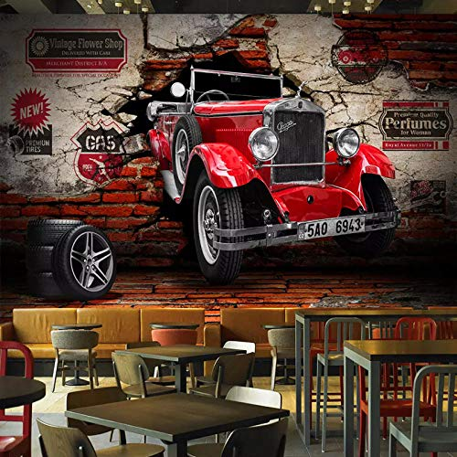 Papel de pared fotográfico personalizado 3D Retro Coche rojo Murales de pared rotos Sala de estar Restaurante Café Bar Ktv Fondo Pintura de pared Decoración 300 cm (L) × 210 cm (H)