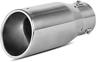 Maxiii Chrome Exhaust Tip 3 Inch Inlet x 4 Inch Outlet x 9 Inch Long Bolt-on Polished Stainless Steel Rolled Edge Angle Cut Tailpipe