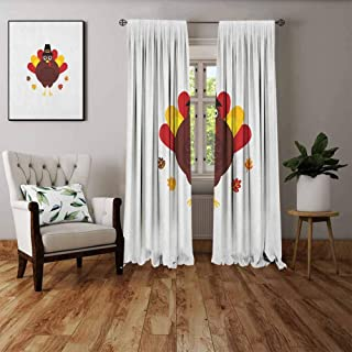 FOEYESEE Thermal Insulating Blackout Curtain Turkey Cartoon Style Pilgrim Bird with Hat Fun Animal Character American Tradition Maroon Red Yellow Boys Girls Bedroom Dorm W84 xL84