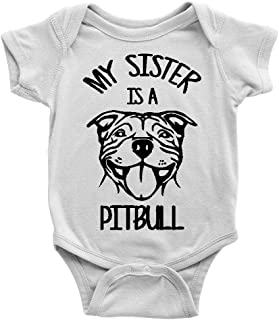 My Sister Is A Pitbull Dog Baby Bodysuit - Multiple Colors To Choose From