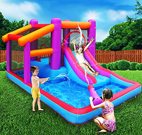 MEIOUKA Kid Inflatable Bounce House with Blower Splash Water Gun Pool Water Slide Jump Bounce Houses...