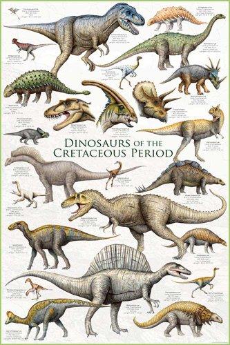 Educational - Bildung Dinosaurier - Dinosaurs - Cretaceous Period Bildungsposter Plakat Druck - Maxiposter Version in Englisch - Grösse 61x91,5 cm