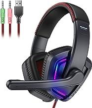 هدست گیمینگ با میکروفن لغو سر و صدا فعال ، هدفون AUOUA Over Ear Wired ights چراغ های RGB رنگارنگ ، صدای استریو 3D m هدفون فوم حافظه ، جک 3.5 میلی متری سازگار با PC Game Xbox PS4 Gamer