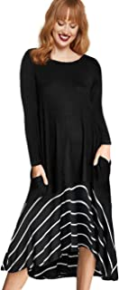 AMZ PLUS Women's Casual Long Sleeve Polka Dot Splicing High Low Hem Plus Size Midi T-Shirt Dress with Pockets