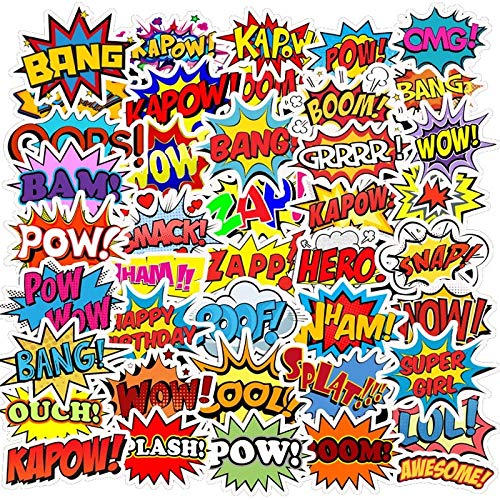 POW ZAP BANG CRASH - Adjectives - Comic Book Stickers Decals Water Resistant For Laptops, Phones, Phone Case, Consoles, Walls, Luggage Case, Books, (50 Stickers)