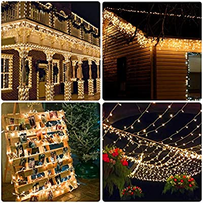 Decox 300 LED Waterproof Solar Curtain Lights for Home Garden/ Wedding/Party/Home Decoration Backdrops 9.8FTx 9.8FT / 8 Modes ( Warm White)