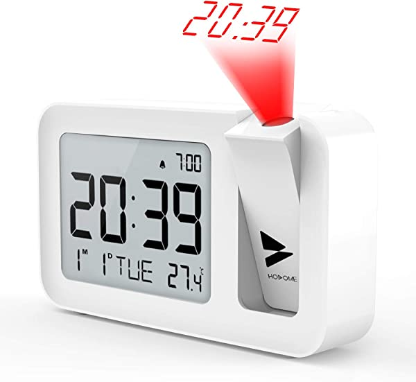 Projection Alarm Clock Hosome Digital Alarm Clock On Ceiling With Indoor Temperature Display 3 8 LCD Screen And Projection Brightness With 2 Alarm Sounds Setting For Bedroom Office