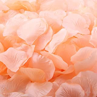 Pack of 1000 Silk Rose Petals, Artificial Flowers for Decoration Wedding Party (Peach)