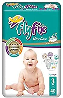 FlyFix TRFFXBD100005 Baby Diapers, Ultra Comfort and Protection, Midi, (4-9 kg) - 40 pcs, Unisex