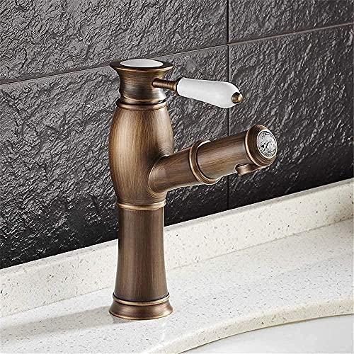 Grifo para lavabo de color negro antiguo, cobre, lavabo, grifo de agua fría y caliente, grifo mezclador para lavabo, color negro antiguo, bronce