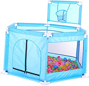 Baby Park  Safety Barrier Activity Center  Net Breathable Park  Solid and Durable  Easy Install  with Mini Basketball Hoop  126cm 65cm  Blue