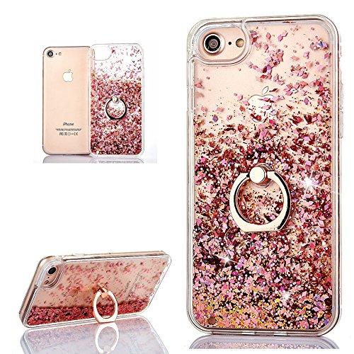 (Nicht für 6/6S) Hancda Flüssig Handyhülle für iPhone 6 Plus / iPhone 6S Plus Hülle Schutzhülle Case Glitzer Flüssig Durchsichtig Transparent Silikon Cover mit Ring Ständer Fingerhalterung-Rose Gold