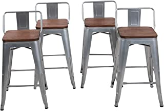 Changjie Furniture 26 Inch Low Back Industrial Metal Bar Stool Kitchen Counter Bar Stools Set of 4 (26 inch, Low Back Silver with Wooden Top)
