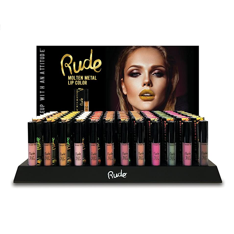 メダル蜜溶接RUDE Molten Metal Lip Color Display Set, 144 Pieces + 12 Testers (並行輸入品)