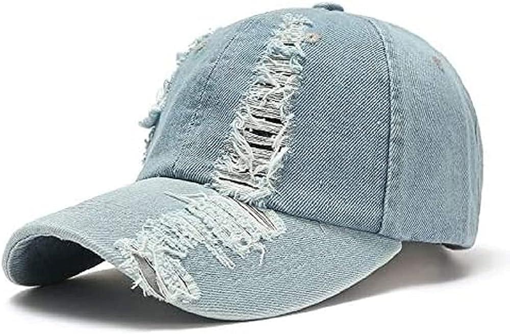 Vintage Distressed Jean Hat, Light Acid Washed Denim, Adjustable Clip for Universal Fit