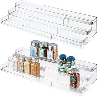 mDesign étagère à épices à 3 niveaux (lot de 2) – présentoir à épices en plastique pour armoire de cuisine – rangement cui...