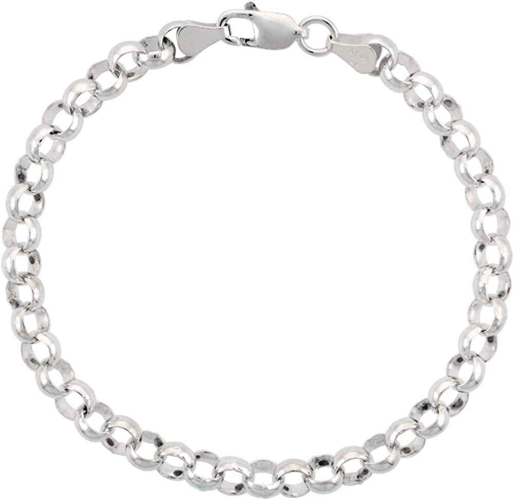 Heavy 6mm Rolo Chain Necklace 24 inch Sterling Silver with Lobster Clasp Solid 925
