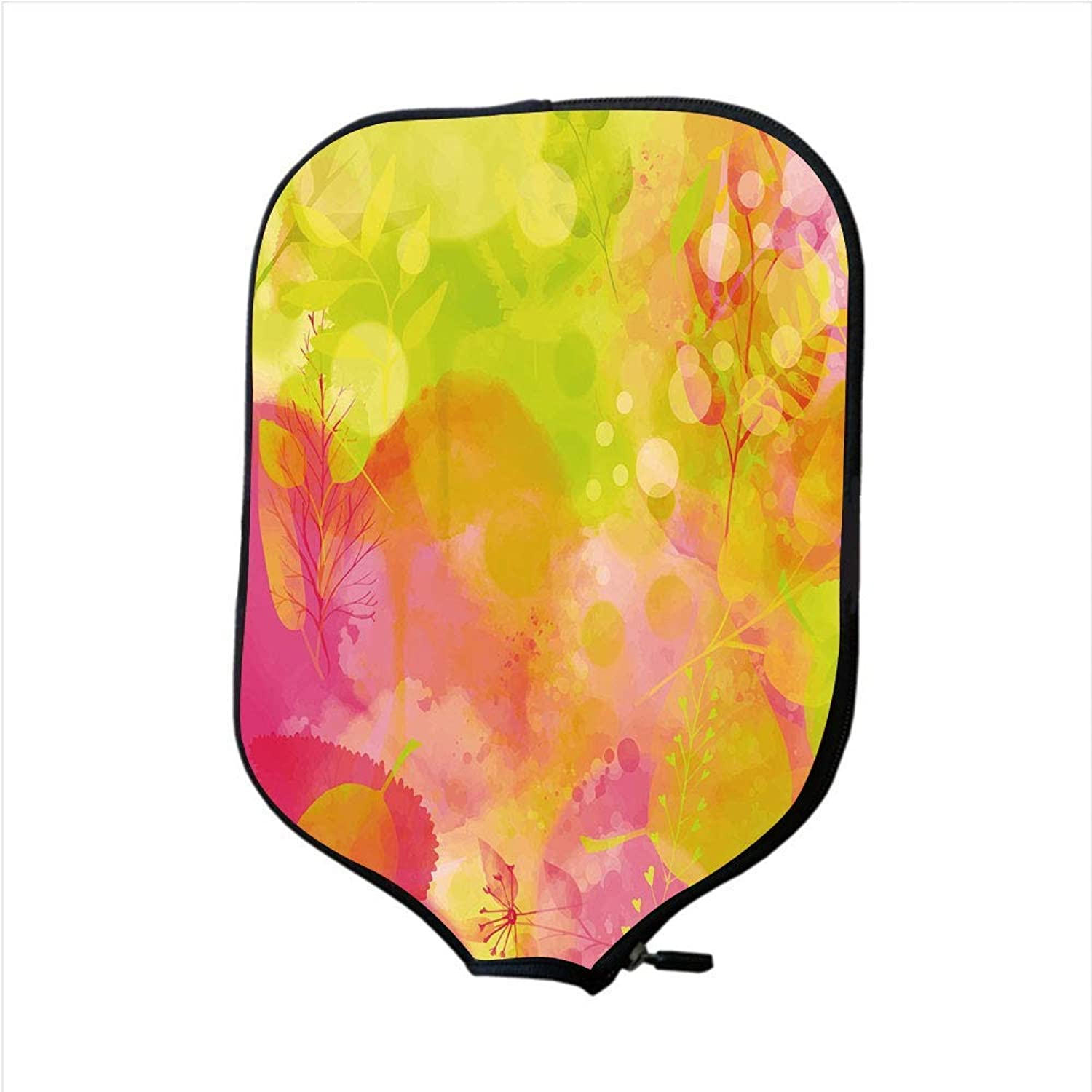 Fine Neoprene Pickleball Paddle Racket Cover Case,Pastel,Nature Inspired Watercolor Paintbrush Spring Yard Psychedelic Artwork Decorative,Pink Apple Green Marigold,Fit for Most Rackets