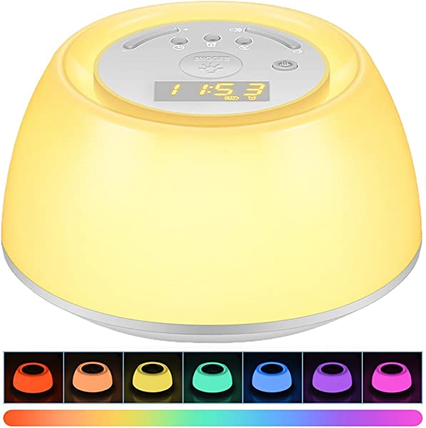 Wake Up Light Alarm Clock Thpoplete Sleep Aid Bedside Lamp With Sunrise Snooze Function Rechargeable Night Light With 3 Levels Brightness 8 Natural Sounds 256 Colors For Bedroom Living Room Baby