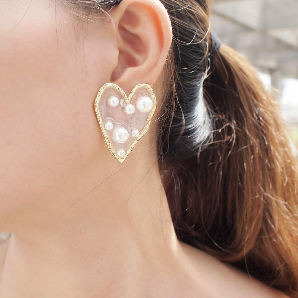 weichuang Fashion Geometric Irregular Big Stars Heart No Pierced Clip on Earrings for Women Pearl Gold Hyperbole Ear Clip Jewelry (Metal Color : Star)