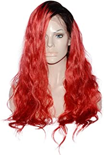 """Hairpieces Hairpieces Full Lace Wig Red Synthetic Oblique Parting Long Wavy Curly Wig with Real Hair for Women for Daily Use and Party (Color : Red, Size : 10"""")"""