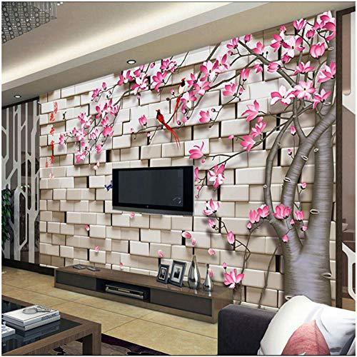 Gtfzjb Aangepaste grootte 3D Stereo Baksteen Peach Bloesem Bloemen Fotobehang voor Woonkamer Slaapkamer Home Decor Art Mural Wallpaper 350 x 250 cm.