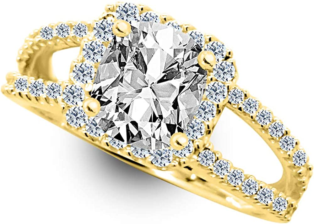1.85 Ctw 14K White Popular brand in the world Gold Split Shank Max 59% OFF Cushion Halo GIA Certified C
