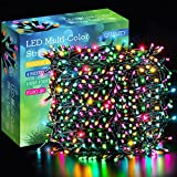 Areker 328ft 1000LED Christmas String Lights Outdoor/Indoor, Green Wire Christmas Fairy Lights Plug in, Multicolor 8 Modes Waterproof Twinkle Lights for Christmas Tree Party Wedding Halloween