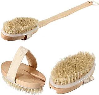 Hellery バスブラシ ボディブラシ 楕円形毛 長いブラシ 手持ち式 お風呂 シャワー用 アクセサリ 実用性