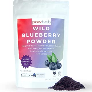 powbab Wild Blueberry Powder: 100% Whole Wild Blueberries (70 g). Not from Freeze Dried Blueberries, Not Blueberry Extract...