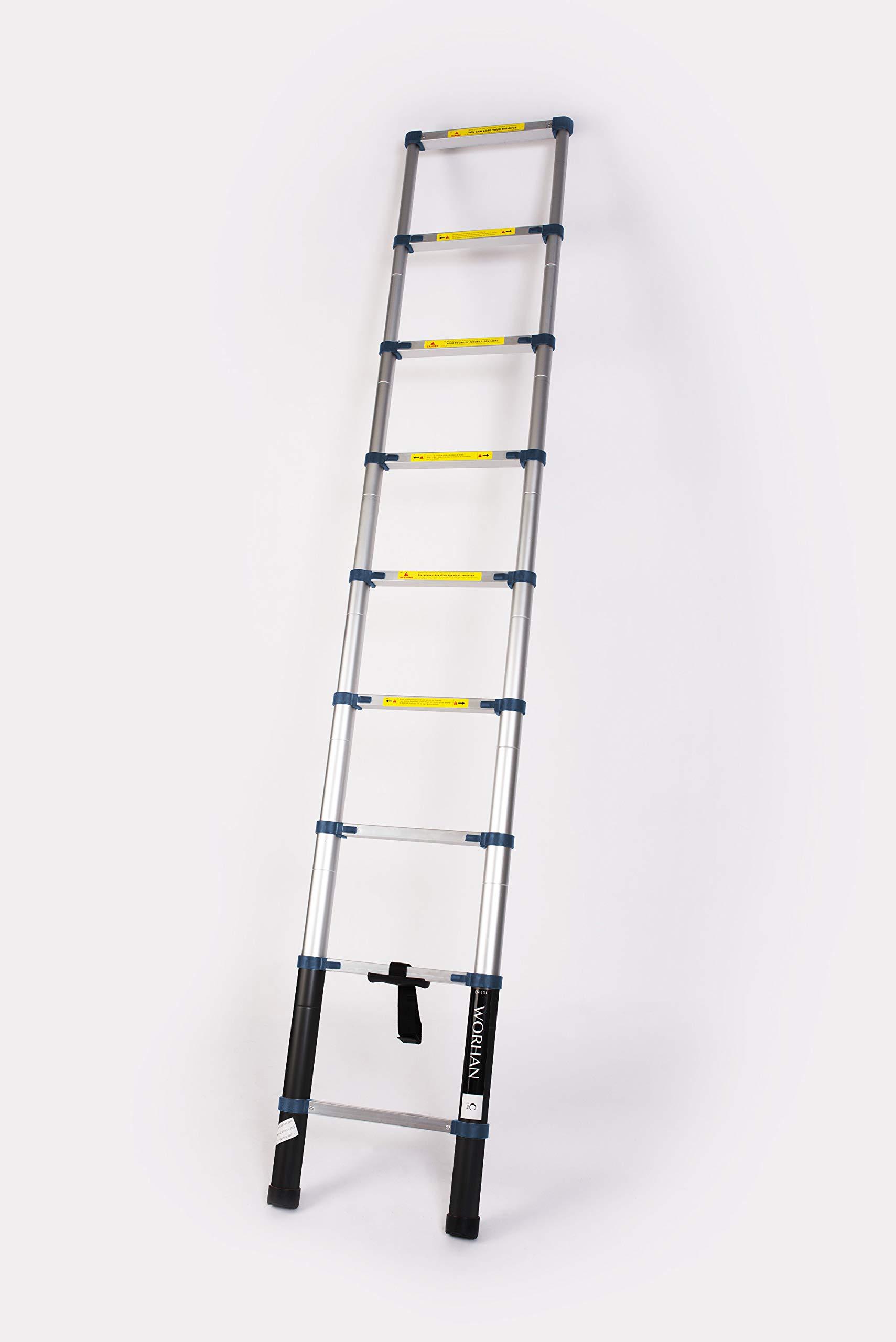 WORHAN® 2.6m Escalera Telescopica PRO Multiuso Aluminio Anodizado Calidad Alta 260cm (.2.6m C-line) 1K2.6C: Amazon.es: Bricolaje y herramientas