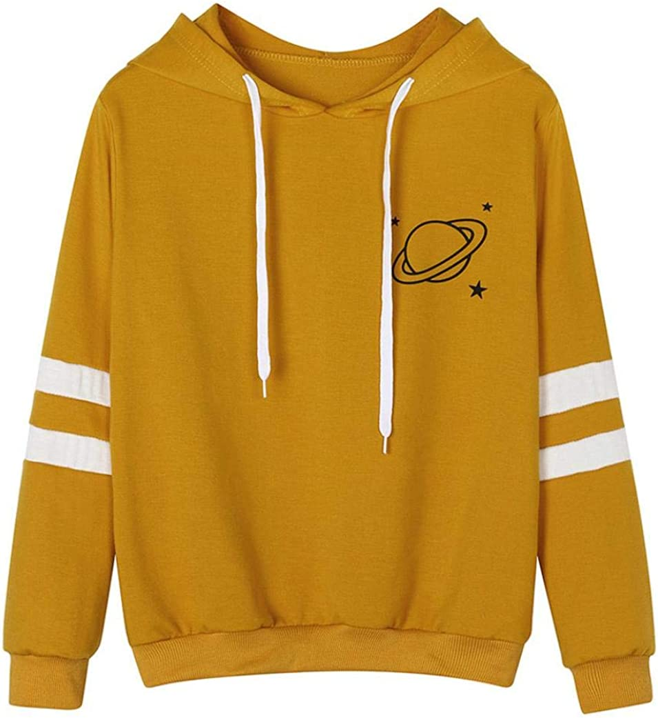 Lovely Long Sleeve Planet Printed Hoodie For Women Teen Girl Causal Sweatshirt Tops Pullover