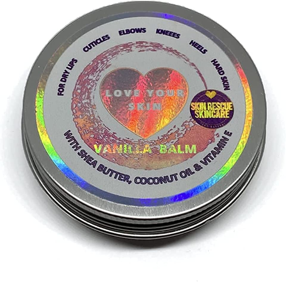 Skin Rescue Vanilla Balm - For Dry Chapped Lips, Cuticles, Elbows, Knees, Heels - 30g - Shea Butter, Coconut Oil & Vitamin E