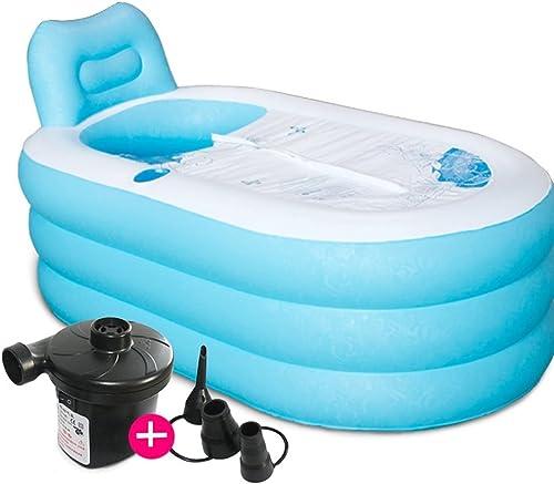 TABQ Baignoire Gonflable, Spa Familial portable de Taille Adulte, Baignoire Confortable, Piscine Gonflable pour Enfants. Donner Un Cadeau à la Famille (Couleur   Bleu, Taille   82  130cm)