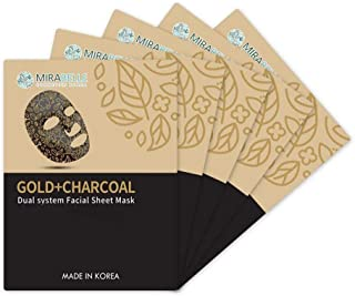 MIRABELLE COSMETICS KOREA Gold + Charcoal Dual System Facial Sheet Mask