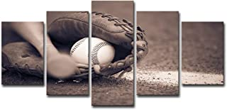 SHOMPE Framed Canvas Wall Art Baseball Pictures Ready to Hang 5 Panels HD Baseball Glove Bat Printed Posters Artwork for Kids Teens Bedroom Living Room Modern Decorations