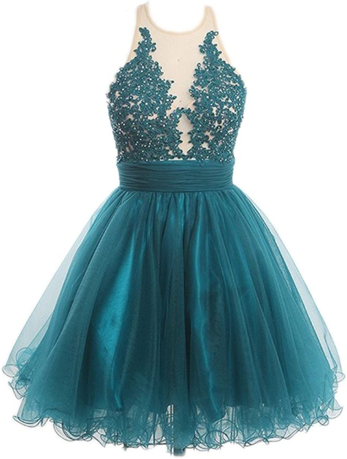 Liaoye Women's A Line Lace Homecoming Dresses Sleeveless Short Prom Party Gown