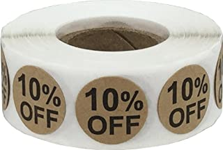 Natural Kraft 10% Percent Off Stickers for Retail 0.75 Inch 500 Adhesive Labels