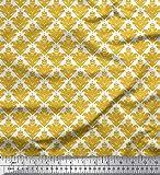Soimoi Gold Seide Stoff verzierte filigran Damast Stoff